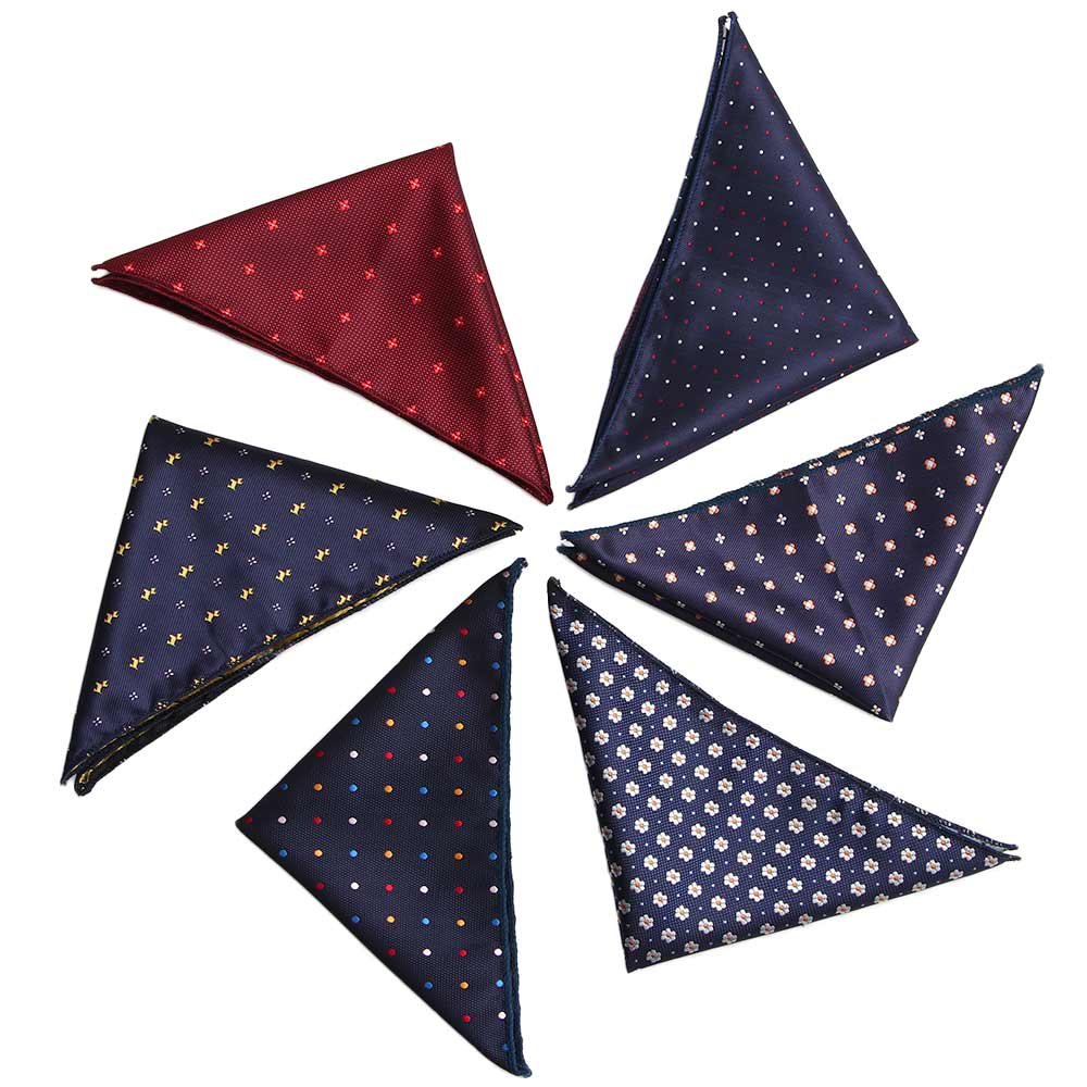 Luxury Men's Handkerchief Polka Dot Striped Floral Printed Hankies Polyester Hanky Business Pocket Square Chest Towel 23*22CM