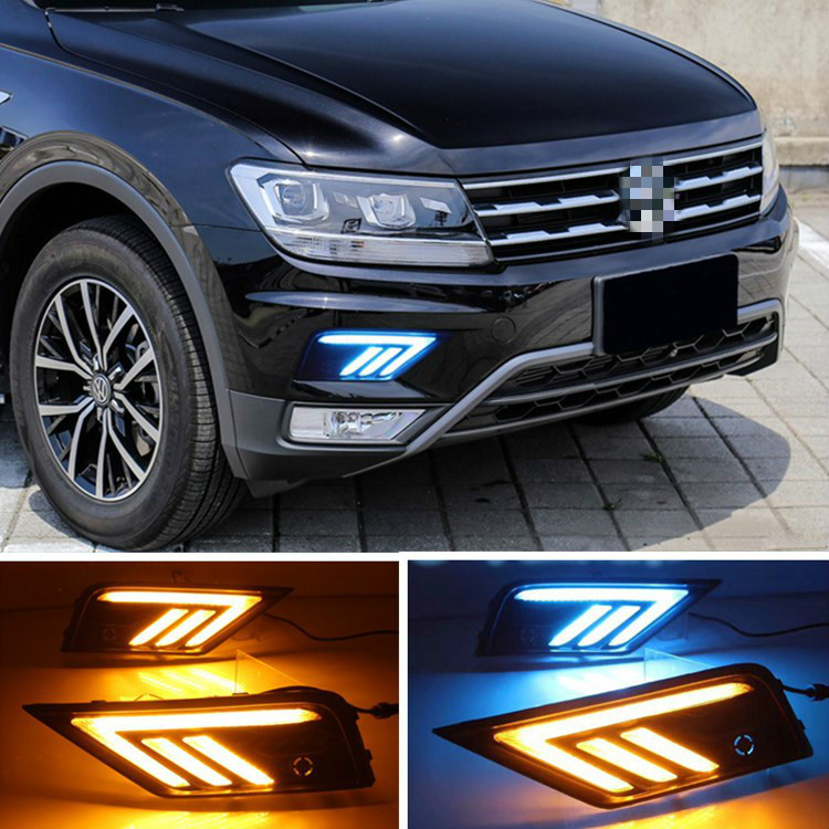 Car 2Pcs Car LED Daytime Running Light For VolkswagenVW Tiguan 2017 2018 DRL with Yellow Turning Night Blue Functions image