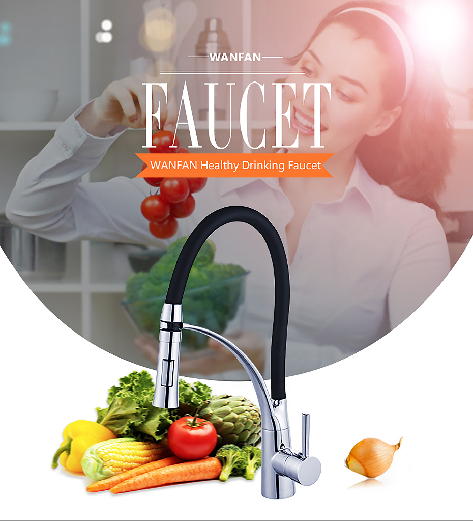 He8033a66e6e24d22a30dc888b050002ed Kitchen Faucets with Rubber Design Chrome Mixer Faucet for LED Kitchen Single Handle Pull Down Deck Mounted Crane for Sinks 7661