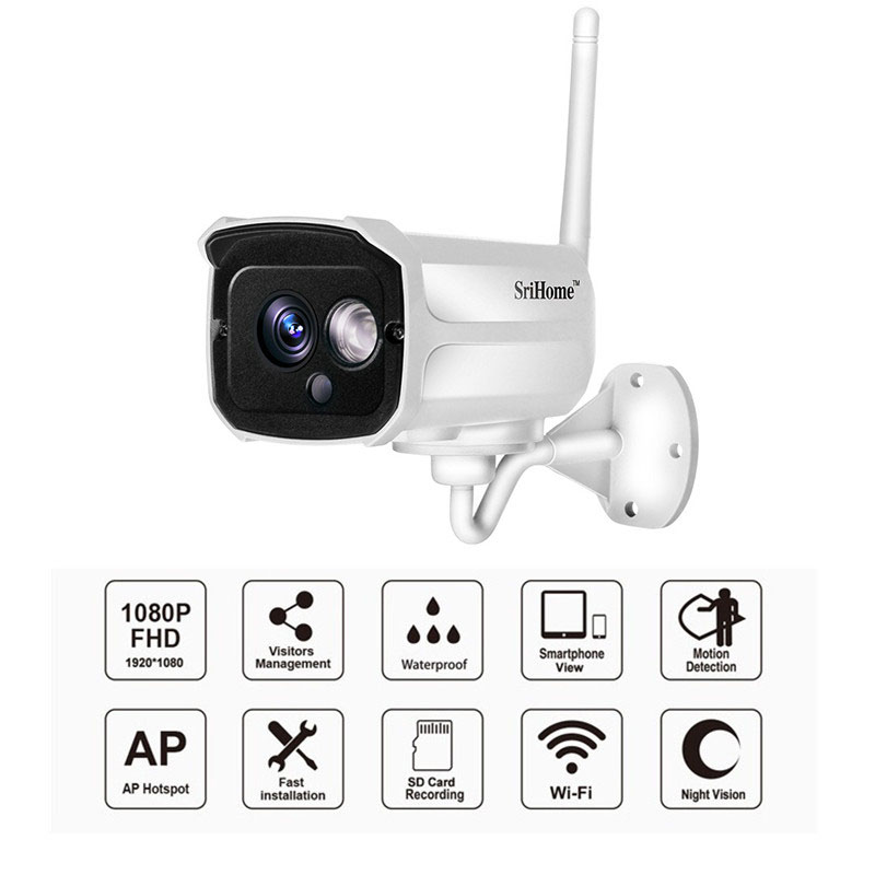 Sricam SH024 1080P Wireless Wifi IP Camera 2.0MP CCTV Security Outdoor Camera Waterproof Camera Night Vision SDCard Slot SriHome