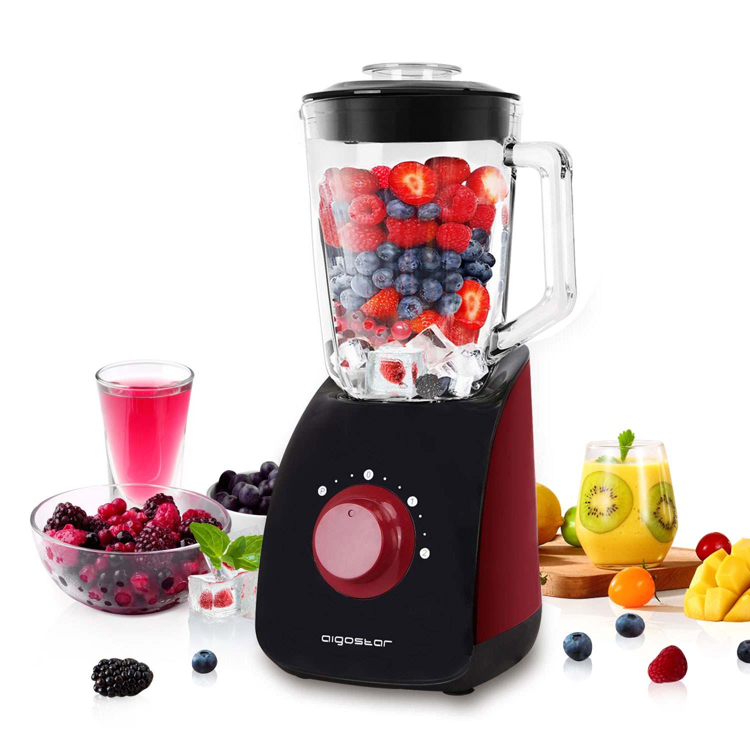 Aigostar Pomegranate Blender Multifunctional Table, 1,5 Liters, 2 Speed And 4 Blades 750 Stainless Steel, Black And Red.