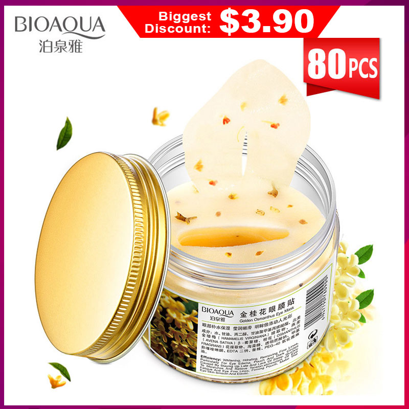 Eye-Patches Whey Protein Face-Collagen-Gel Osmanthus Dark-Circles Bioaqua Gold 80pcs/bottle-Mask