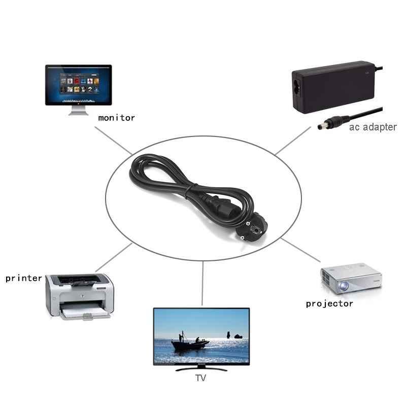 2 sztuk żarówka jak kabel zasilający 1.5m 2m 3m ue Schuko IEC C13 przewód zasilający dla Dell monitor do komputera drukarka epson LG TV PS4 Pro