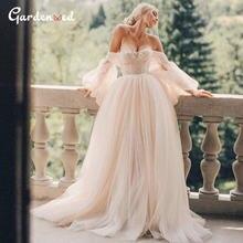 С открытыми плечами иллюзия свадебное платье 2020 рукава фонарики