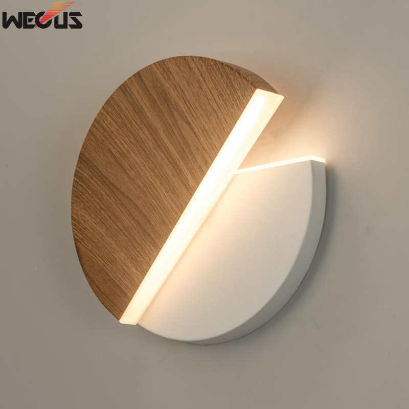 (WECUS) Nordic Creative Minimalist Black / White LED Aisle Art Lights, Bedroom Bedside Porch Balcony Rotatable Wall Lamp