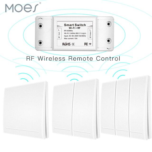 Akıllı basmalı düğme anahtarı RF433 110V 220V alıcı Wifi kablosuz uzaktan kumanda akıllı yaşam/Tuya APP, alexa Google Home ile çalışır.