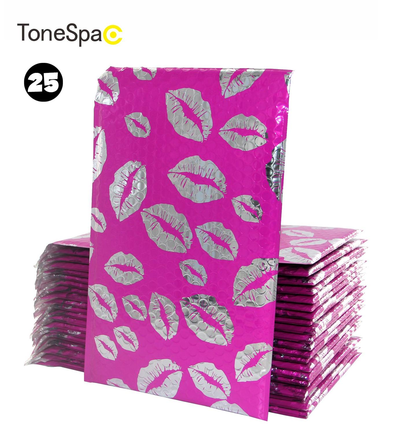 TONESPAC 190*260mm 25pcs Lips Kiss Poly Bubble Mailer Padded Shipping Envelopes Bag Self Seal Waterproof Packaging Hot Pink