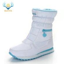 Зимние сапоги женская теплая обувь зимние сапоги 30% Натуральная шерсть обувь белого цвета, BUFFIE г. Большой размер, на молнии, до середины икры