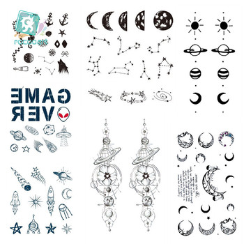 1 Sheet Waterproof Temporary Fake Tattoo Stickers Grey Moon Phase Vintage Earth Design Body Art Tattoo Cool Men Women