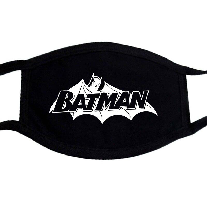 Batman Superman Iron Man Cartoon Print Mask Anti-dust Black Casual Cotton Warm Unisex Mask Mouth Muffle Face Dustproof Masks