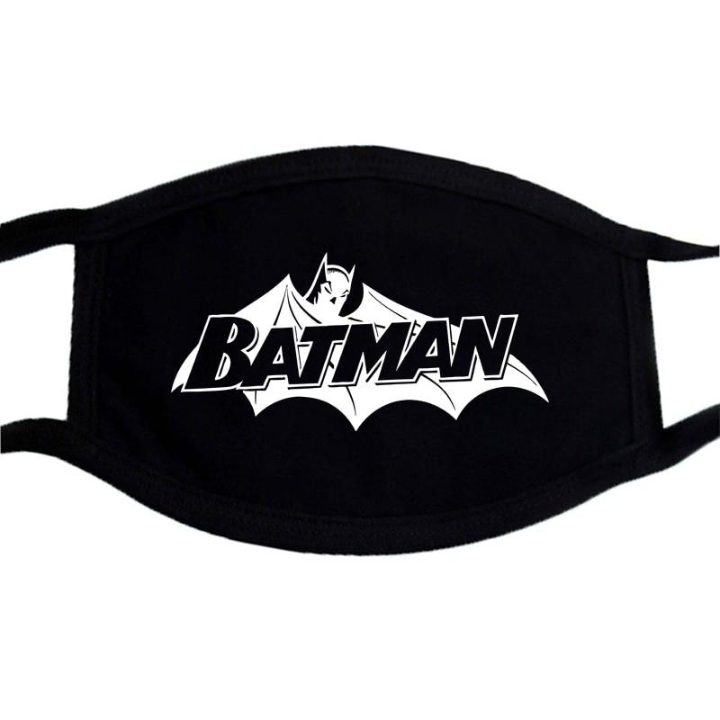 Batman Superman Iron Man Cartoon Print Mask Anti-dust Black Casual  Warm Unisex Mask Mouth Muffle Face Dustproof Masks