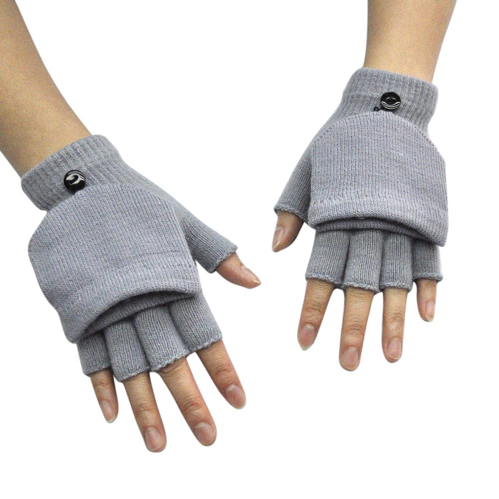 Adult Women Men Winter Hand Wrist Warmer Flip Cover Fingerless Winter Gloves Tactical Guantes Warm Soft Handschoenen C301010
