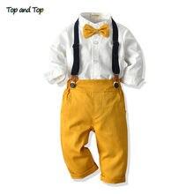 Üst ve en moda çocuklar erkek beyefendi giyim seti uzun kollu beyaz gömlek Tops + tulum giysileri kıyafet erkek resmi kıyafet bebes