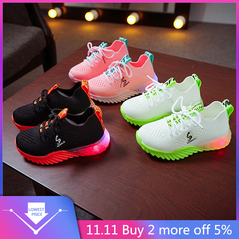 2019 Autumn Led Luminous Shoes Fashion Breathable Children Kid Baby Girls Boys Letter Sport Running Sneakers Mesh Casual Shoes