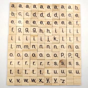 100Pcs/lot English Letter Set Word Khaki Scrapbooking Scrabble Numbers Alphabet Tile Wooden Letter Block Home DIY Crafting 1