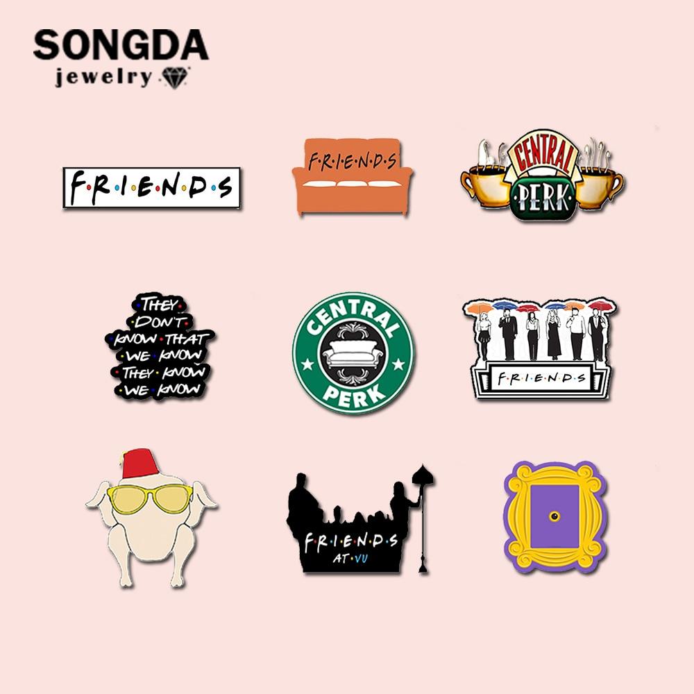 SONGDA старомодный с надписью ТВ шоу Friends (эпоксидной смолы акриловые заколки разноцветные Shrinky смолы нагрудные значки символы в подарок для др...