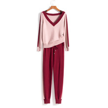 2019 Hot Sale Full Wool Womens Cashmere Knit Two-piece Fashion V-neck Color Matching Pullover And Pants 2 Piece Set Women