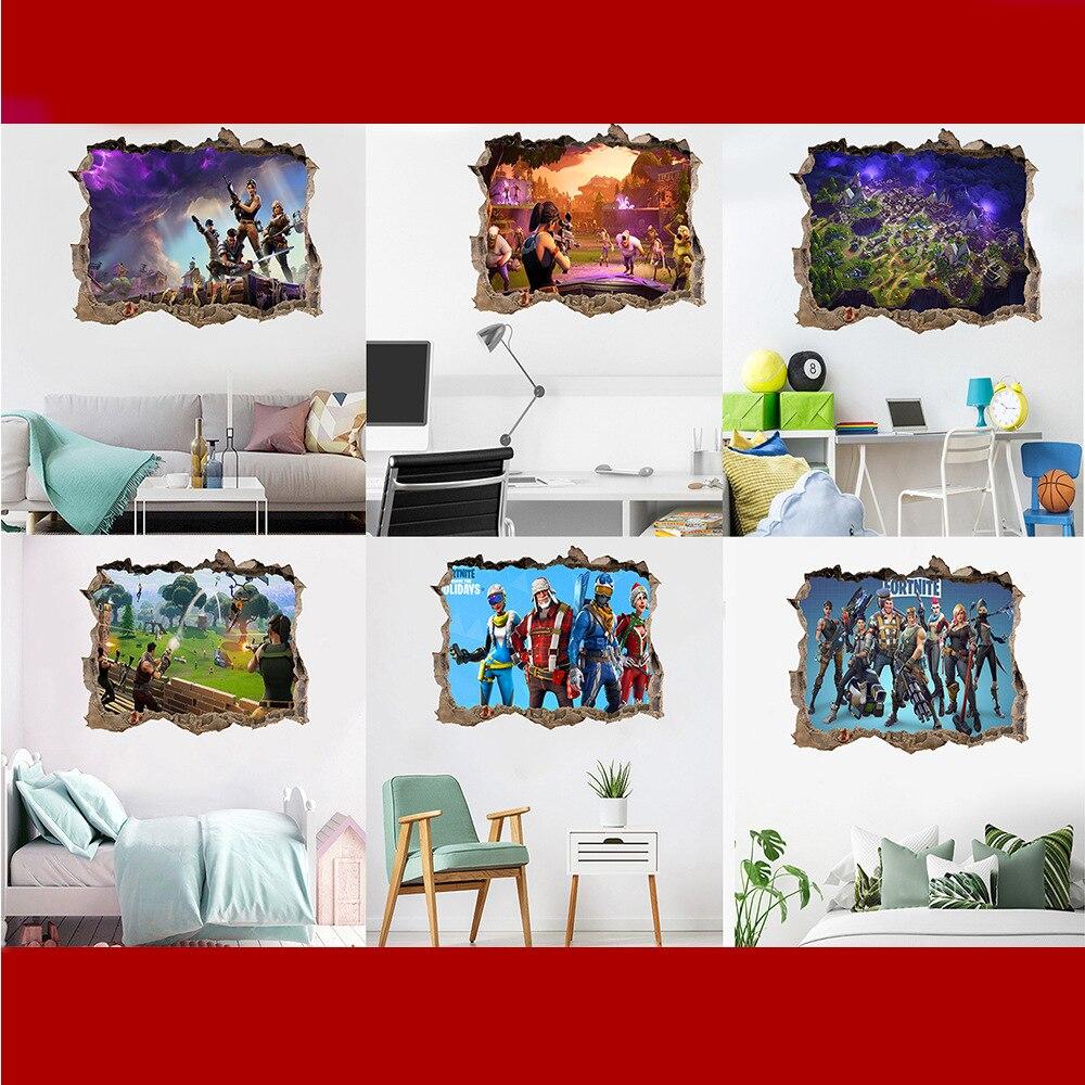 Наклейки на стену «Крепость ночи Fortnites», экологичное украшение на стену из ПВХ, наклейки на стену в спальню, домашний декор, Подарочный посте...