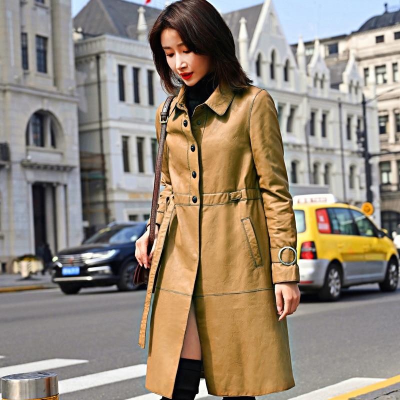 Spring Elegant Natural Genuine Leather Windbreaker Jacket Women Streetwear 100% Sheepskin Coat Female Vintage Leather Coats 1815