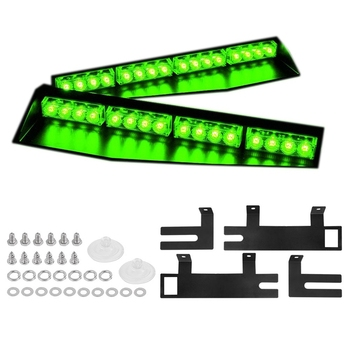 (Green) 32LED Visor Lights 15 Flash Patterns Emergency Strobe Lights Windshield Split Mount Light Bar Law Enforcement Hazard War