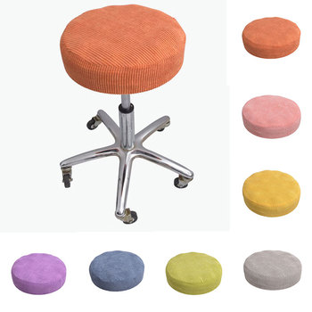Corn Plush Round Chair Cover Solid Color Stripe Fashion Round Chair Cover Bar Stool Elastic Seat Cover Chair Protector Slipcover image