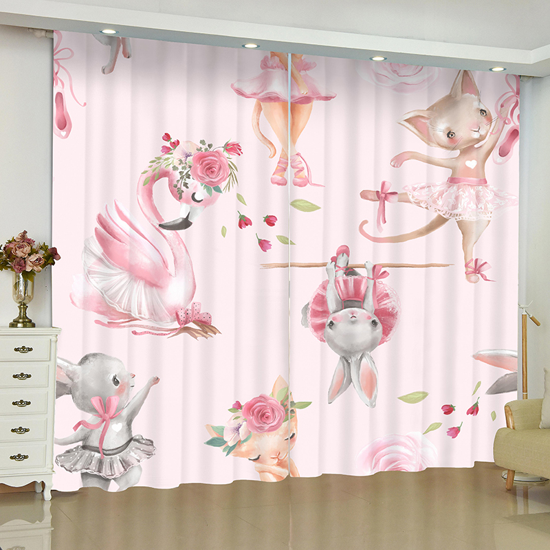 Cartoon Childrens Room Cute Curtains for Window Kids Bedroom Blinds Finished Drapes Window Blackout Curtains Parlour Room Blinds in Curtains from Home Garden