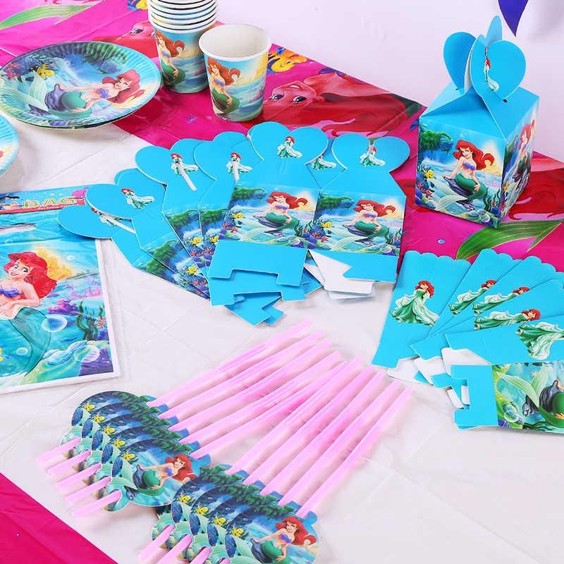10 เด็ก Ariel Little Mermaid Disposable Tableware Birthday PARTY อุปกรณ์ตกแต่งเทศกาลกิจกรรม Favor เปิดเผยเพศหญิง