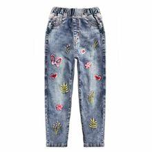 Джинсы для девочек, весенние хлопковые эластичные мягкие джинсовые штаны, детские штаны, ковбойские штаны с цветочным принтом для маленьких мальчиков
