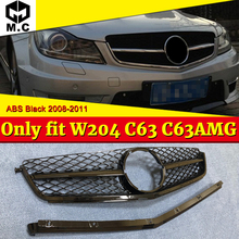 C class W204 C200 C250 C300 Only fit C63 C63AMG ABS black SportS Front grill Grille Look Without Sign 2008-11