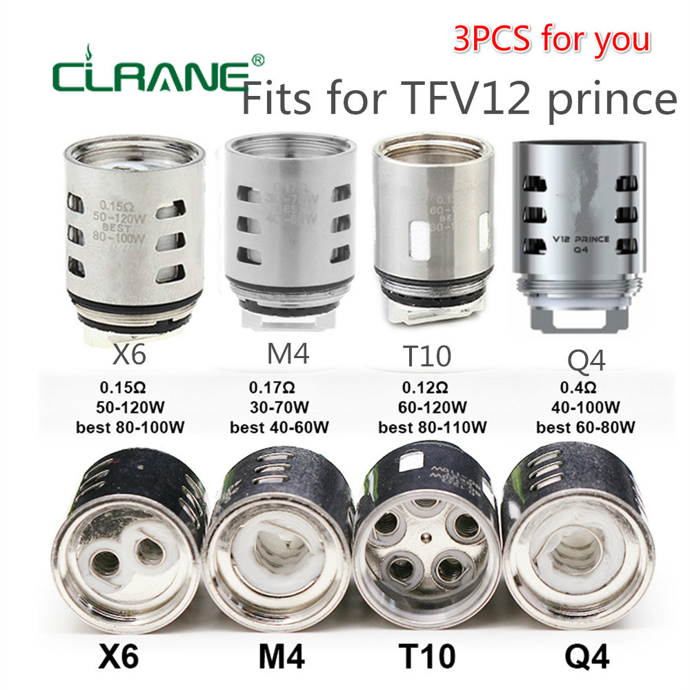 3pcs CLRANE V12 Prince-M4/Q4/X6/T10 Replacement Coil Head Atomizer Core For TFV12 Prince Tank Mag 225w TC Kit