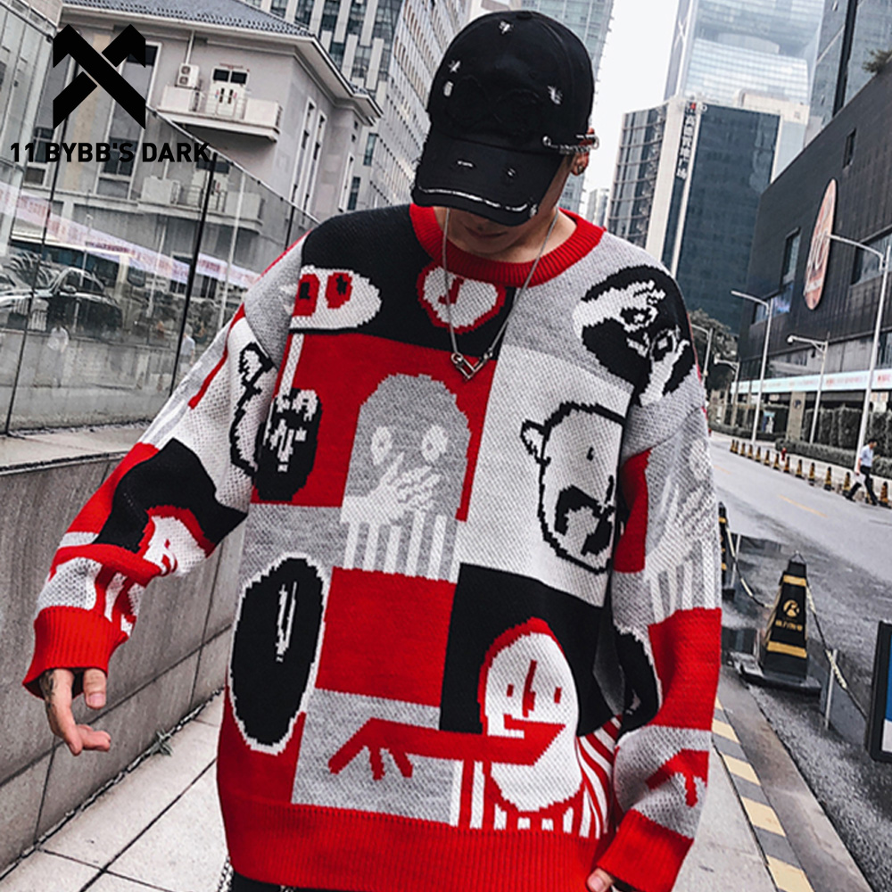 11 BYBB'S DARK Patchwork Cartoon Print Knitted Pullover Mens 2019 Hip Hop Harajuku Autumn Winter Male Casual Sweater Streetwear