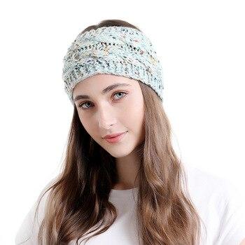 Winter Warmer Ear Knitted Headband Turban for Lady Women Crochet twist Bow Wide Stretch Solid Hairband Headwrap Hair Accessories