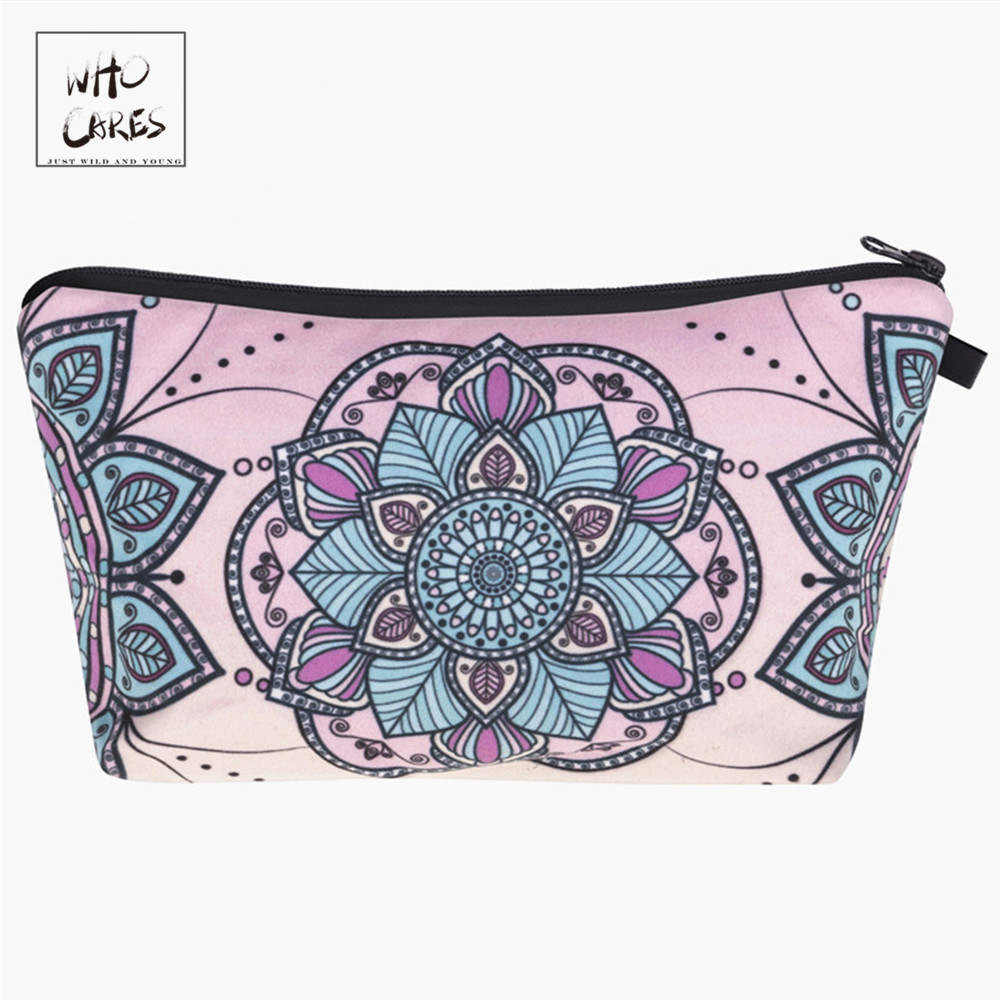 Who Cares Fashion Printing Mandala Flower Makeup Bags Cosmetic Organizer Bag Pouchs For Travel Ladies Pouch Women Cosmetic Bag
