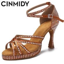 CINMIDY New Rhinestone Thick Soft Bottom High Heels Tango Latin Salsa Rumba Non-Slip Dance Shoes Women Sandals Zapatos Mujer
