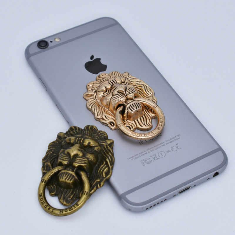 Soporte de anillo de teléfono móvil León Chapado en Metal completo Retro viento 360 grados giratorio teléfono móvil Shell Universal anillo soportes de teléfono