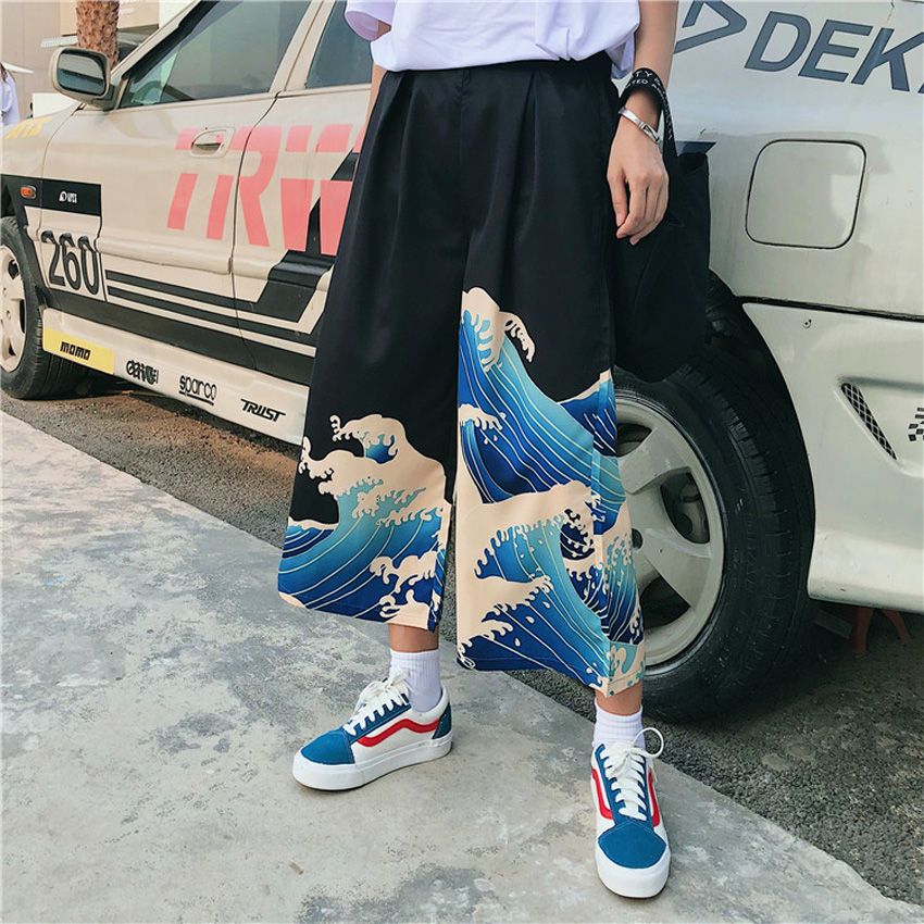 Unisex Man Woman Wide Leg Pants Japanese Style Harajuku Ukiyo Wave Print Casual Elastic Cartoon Leisure Loose Harem Trousers