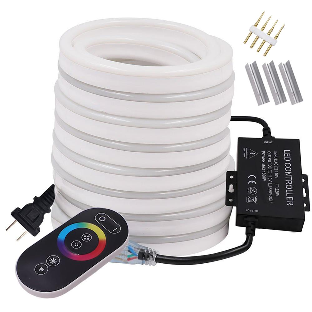 LED Neon Light Strip RGB Neon Sign 220V 110V Flexible LED Rope Light Touch Remote Control 5050 2835 LED String Lamp EU US UK Set