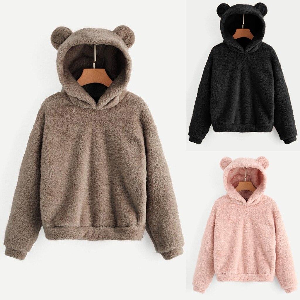 Women Sweatshirt Women's Long Sleeve Fleece Sweatshirt Warm Bear Shape Fuzzy Hoodie Pullover Women Sweatshirt #2019