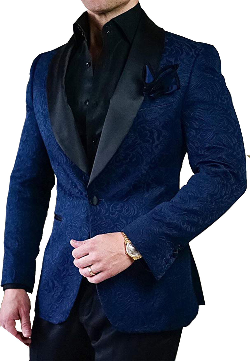 Royal Blue/Navy Men Suits 2 Pieces Shawl Lapel Elegant Floral Jacquard Groomsmen Tuxedos Men Suits For Wedding (Blazer+Pant)