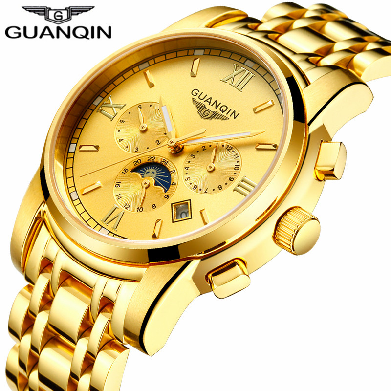 GUANQIN  Brand Automatic Tourbillon Watch Luxury Men Business Stainless Steel Mechanical Wristwatch Gold Luxury Male Clock