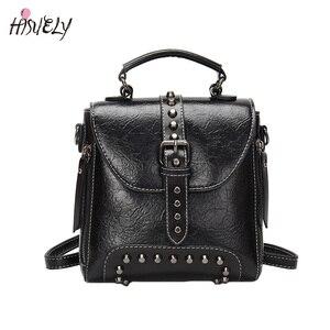 Image 5 - 2020 새로운 레트로 부드러운 여성 PU 가죽 가방 리벳 메신저 가방 Crossbody 패션 디자이너 숄더 가방 지갑과 핸드백 Q3
