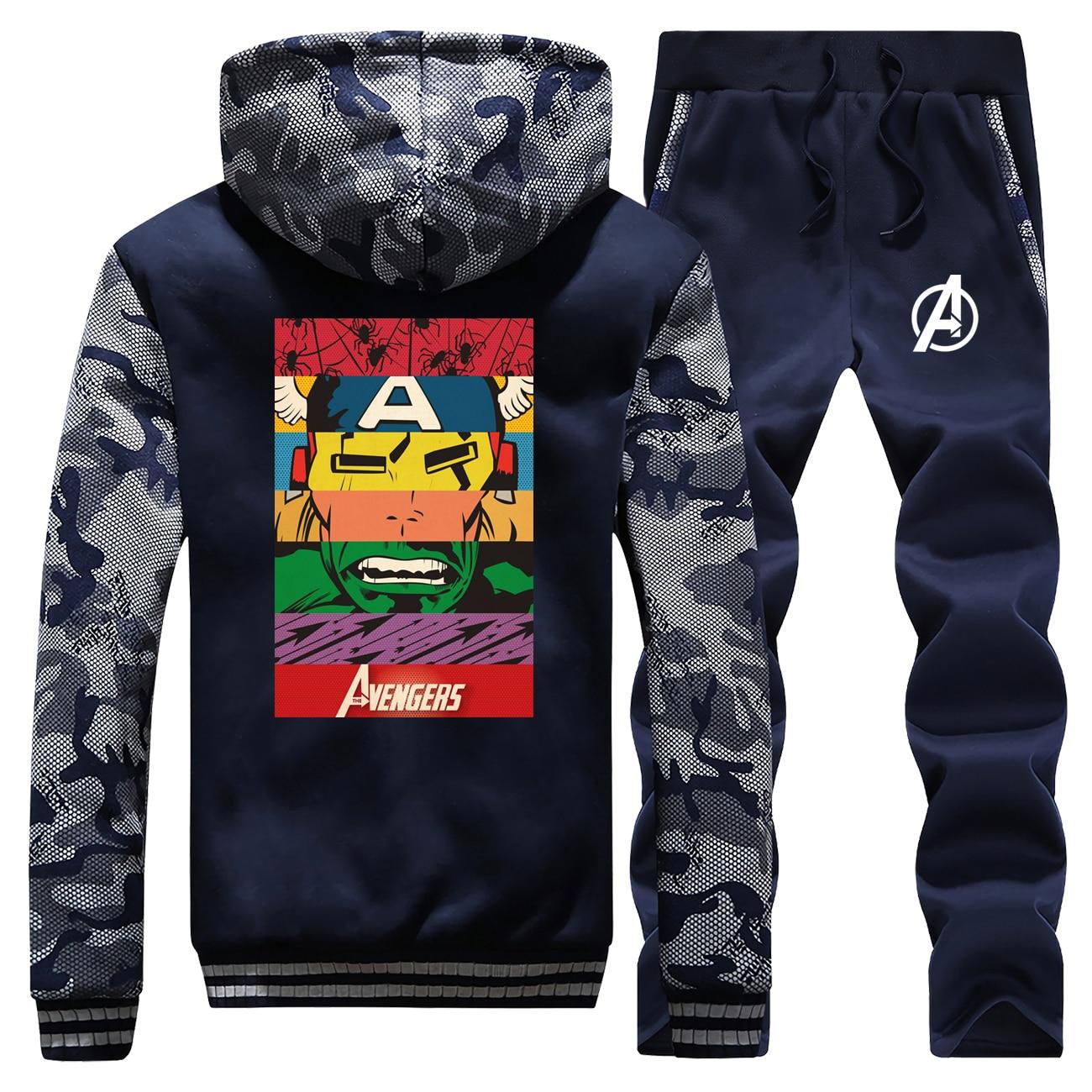 The Avengers Tracksuits Jacket Pant Superhero Set Men Sportsuits Sweatshirts Hoodies Sweatpant Sets Suit 2 PCS Camo Sportswear