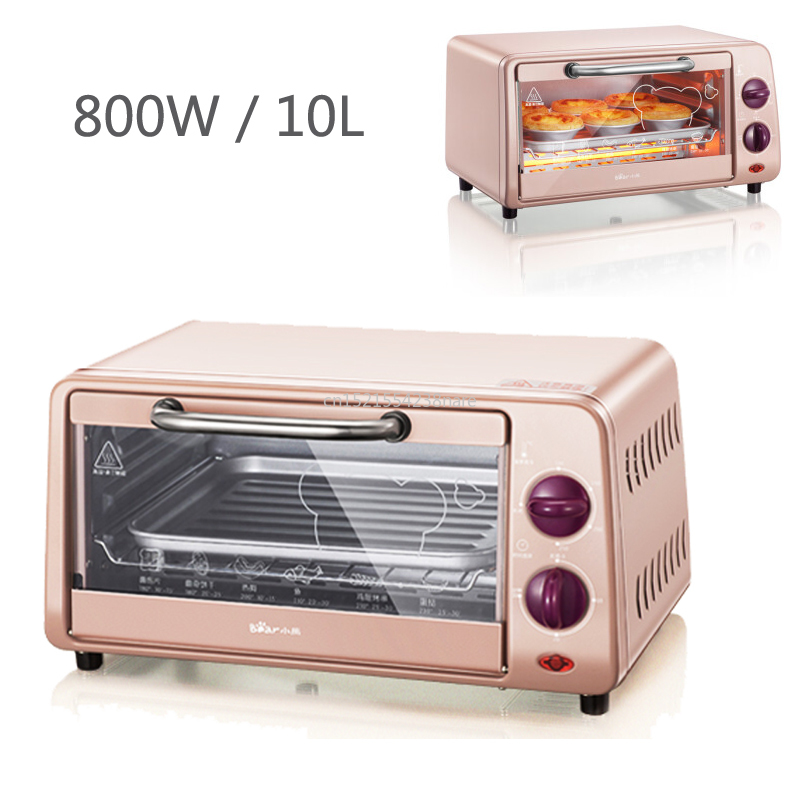 220V 10L fours à micro-ondes multifonctions automatique mini four four électrique pour la maison cuisson contrôle de température gratuit 800W rose