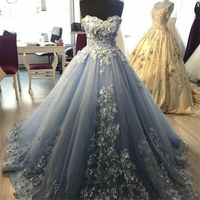 Light Blue Sweetheart Sleeveless Ball Gown Quinceanera Dresses Handmade Flowers Appliques Lace Sweet 16 Long Prom Party Dress