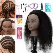Afro manken kafa gerçek saç örgü için Cornrow uygulama kafası eğitim manken kukla kafa profesyonel şekillendirici saç modelleri