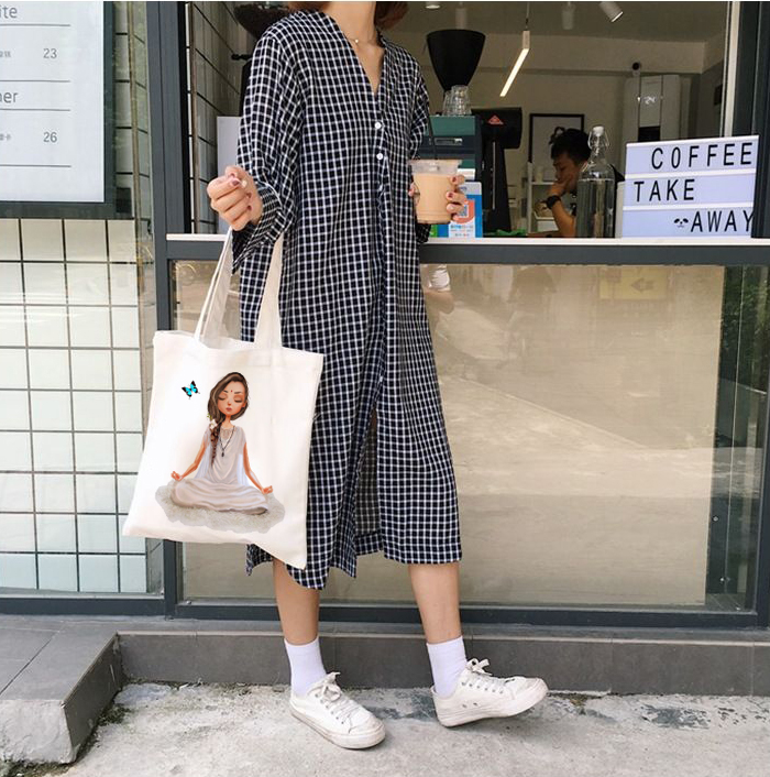 Yoga Girl Eco Friendly Shopping Bags Women Shoulder Bag Supermarket Canvas Handbag Totes Shopper Bags Reusable Grocery ToteBag