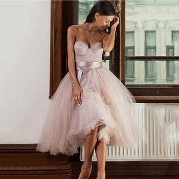 Short Informal Strapless Wedding Dress 2020 Beach Bride Dress Knee Length Hot Sale Pink Tulle Wedding Gowns vestidos de novia - DISCOUNT ITEM  52 OFF Weddings & Events