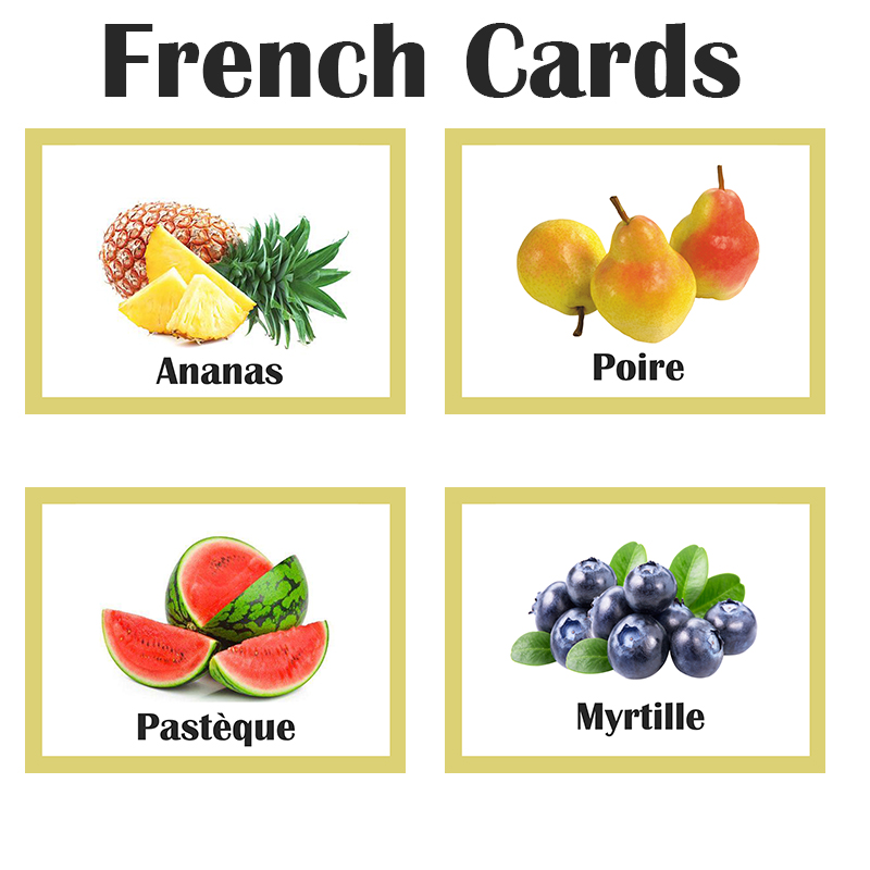 Children French Fruit Teach Montessori Educativos Word Pocket Flash Card Baby Active Learning Early Educational Game Kids Toys