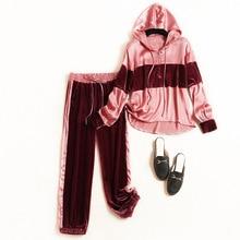 2019 autumn High quality womens velvet leisure suit high hooded sweatshirt + casual pant 2piece set pantsuit women A818