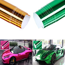 "New Gold/Green/Rose Red Chrome Mirror Vinyl Wrap Film Car Sticker Decal Sheet Bubble Free 6x60""(China)"